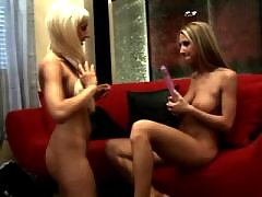 Lustful lesbians caress each other
